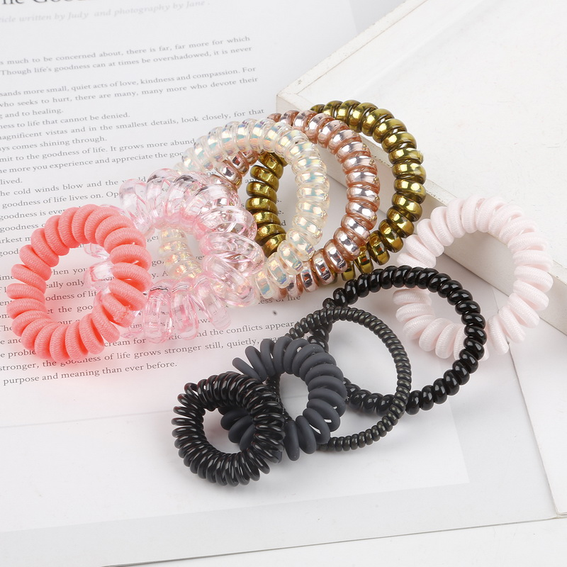 Women And Girls Hair Accessories Telephone Wire Elastic Hairband Rubber Band Headband Rope Spiral Shape Hair Ties Gum Scrunchies
