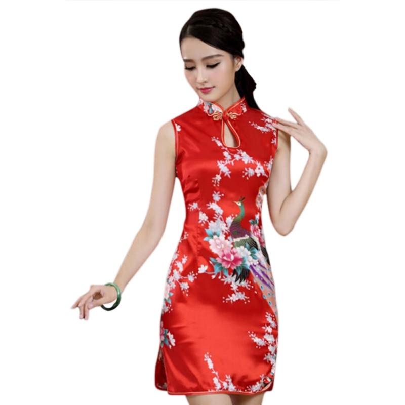 2616c407f Red Chinese Traditional Women Cheongsam Silk Satin Mini Dress Sexy Qipao  Flower Wedding Dress Size S M L XL XXL 2018 New