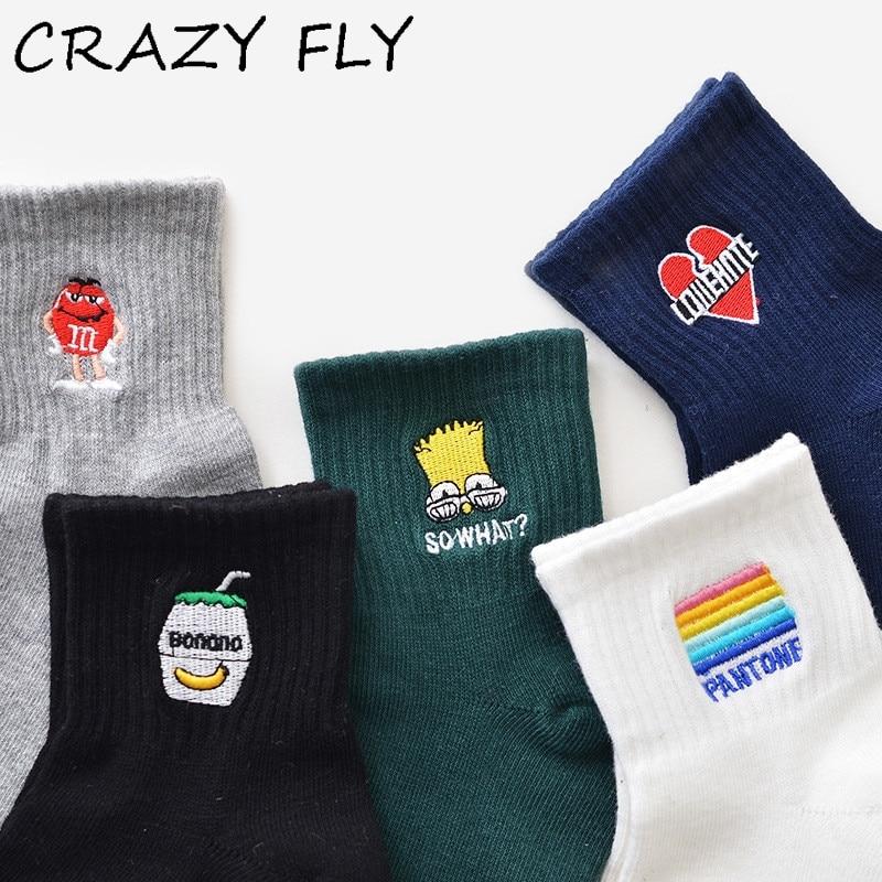 CRAZY FLY 2019 Spring New Fashion Rainbow Cartoon English Embroidery Pattern Socks Harajuku Women Couple Funny Socks meias