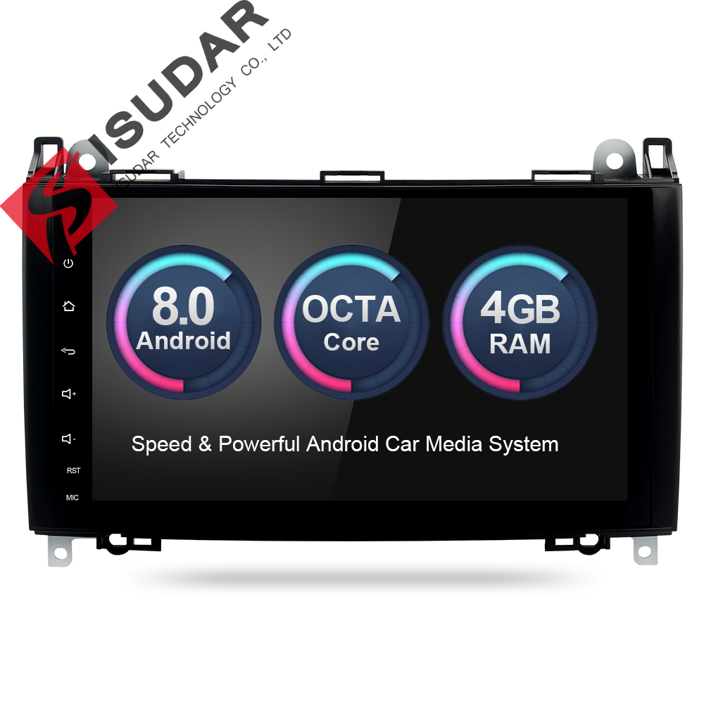 Isudar Voiture Multimédia Lecteur GPS Android 8.0 Voiture Radio 2 Din Pour Mercedes/Benz/Sprinter/W169/ b200/B-classe DSP 4 gb RAM OBD2