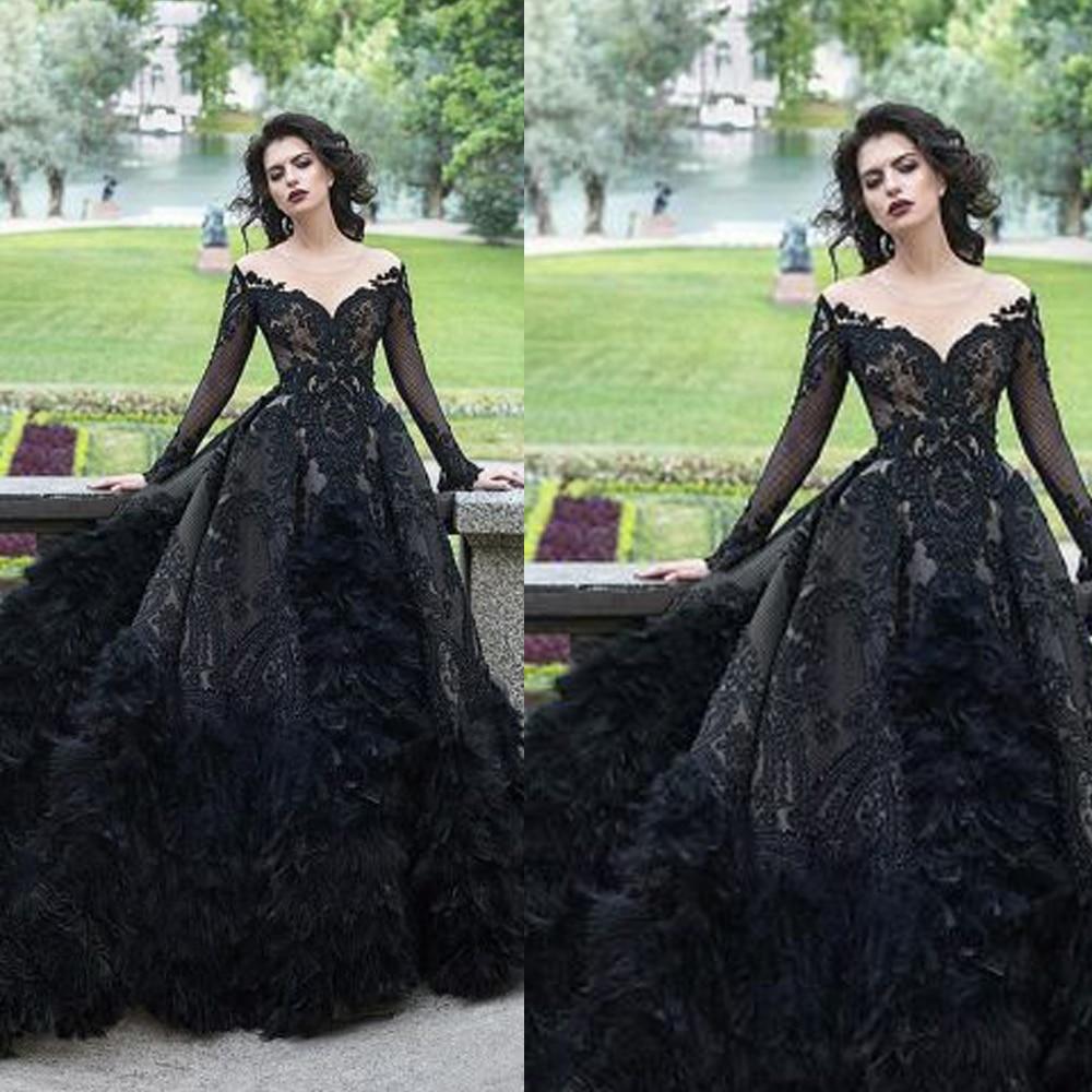 black   prom     dresses   2019 long sleeve lace appliques detachable train flowers feather black evening   dresses   gowns arabic