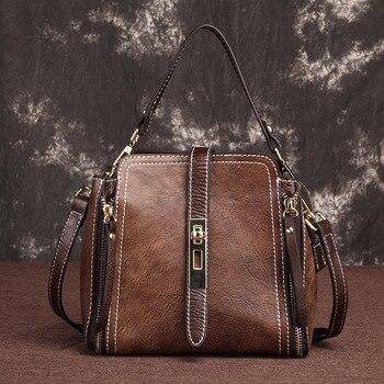 High Quality Natural Skin Tote Bucket Bags Women Handbag Vintage Famous Brand Female Messenger Shoulder Genuine Leather Bag