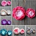 Burned satin Hair flowers Singed fabric flower for baby/wedding/kids/Girl/women accessories Handmade