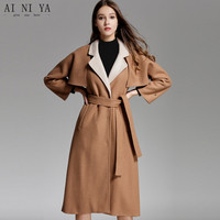 2018 New Women Autumn Winter Coat Camel Cloak Long Section Woolen Jacket Thick Loose Coat 63% Wool 25% Polyester 12% Cashmere