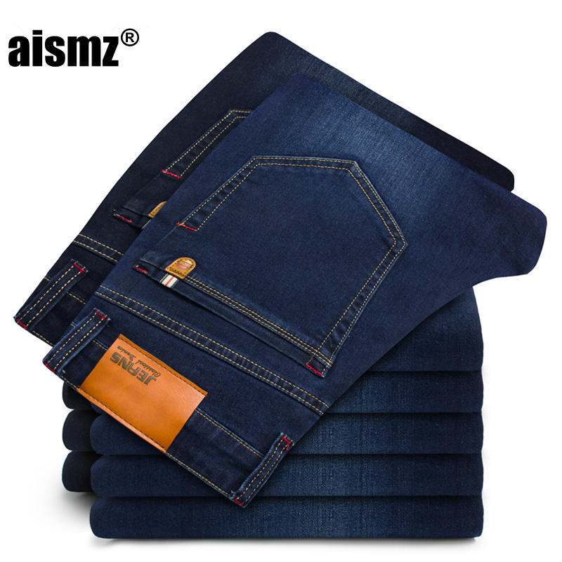 Aismz 2019 New Cotton Jeans Men High Quality Famous Brand Denim Trousers Soft Mens Pants Men's Fashion Large Big Size 42 44 46