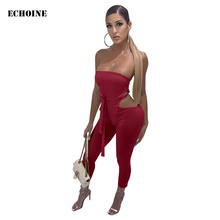 Sexy Strapless Women Jumpsuit with Belt Slim Bodycon Club Outfits Bodysuit Playsuit Party