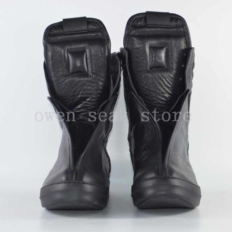 Echtem Stiefel Weiß Schuhe Ankle top Große Leder Owen Größe Frauen Schwarzes Luxus weiß Sneaker Zip brown Seak Wohnungen Marke Schwarz Casual High Trainer qnwv8C