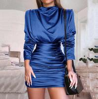 Women's skinny solid color long sleeve pleated chic short dress Lady's sexy club performance fashion satin dress TB496