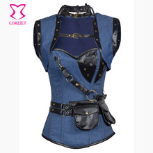 Retro Gothic Blue Denim&Brocade Steel Boned Overbust Steampunk Corsets Jacket Women Leather Bustiers with Pouch Belt