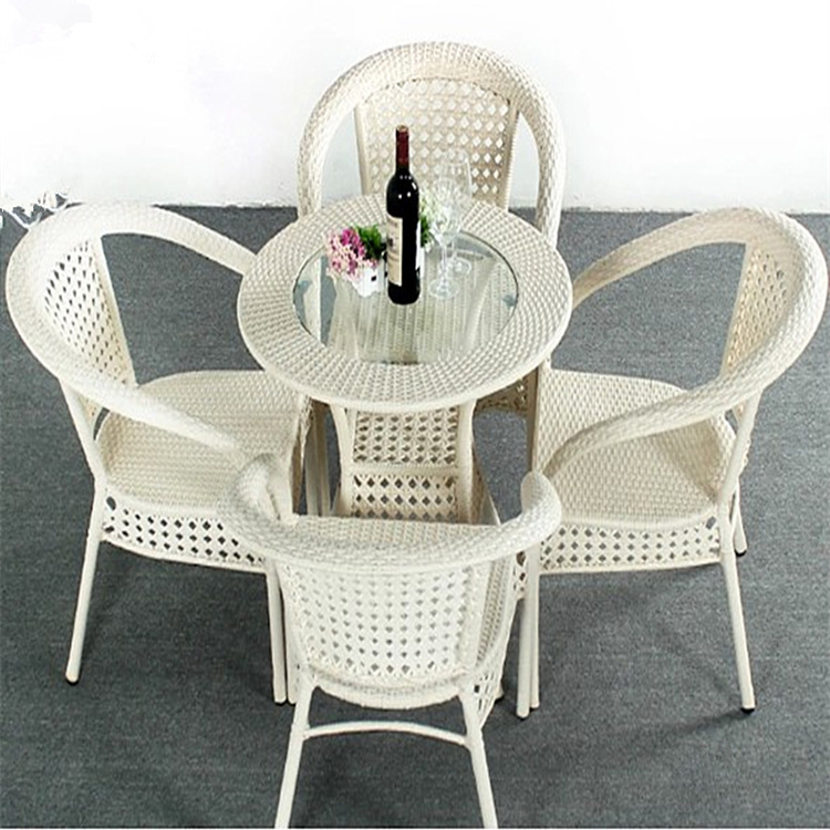 Set Of 5pcs Patio Rattan Furniture Set Outdoor Backyard Dining Table And 4  Chairs