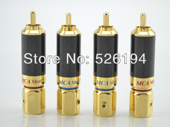 Free shipping 4PCS Gold Plated Carbon Fiber Shell Audio Cable RCA Plug Connector free shipping 4 colour gold plated rca socket rca connector 8pcs lot