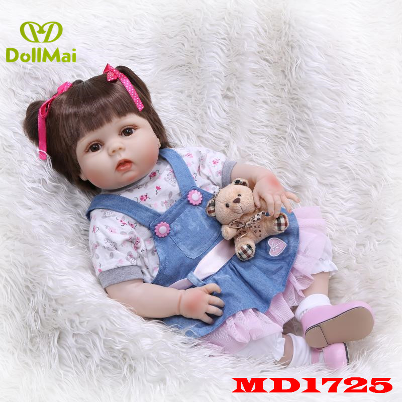 Full silicone reborn baby doll real lifelike Denim skirt girl newborn babies toy dolls for child gift bebe alive reborn 55cmFull silicone reborn baby doll real lifelike Denim skirt girl newborn babies toy dolls for child gift bebe alive reborn 55cm