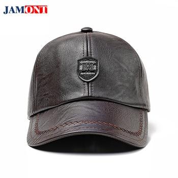 JAMONT autumn Winter Warm Baseball Cap PU Mens Leather Baseball Caps Dad Hats for Men Black Hat Men Ear Protection Baseball Cap бейсболк мужские