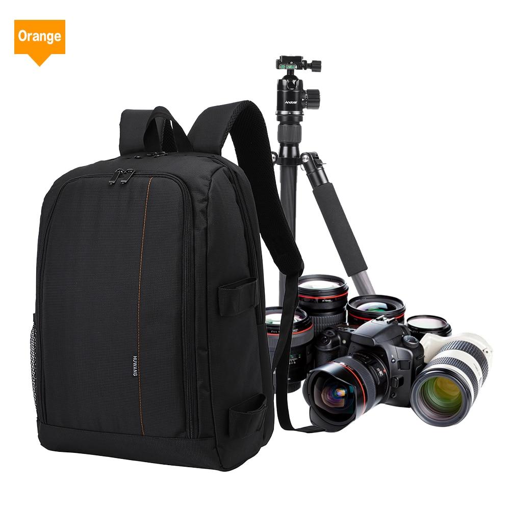 HUWANG Large Padded Camera Bag Photography Travel Backpack w Rain Cover Tripod Holder Laptop Pocket for