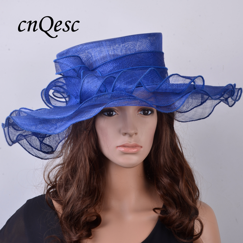 Wholesale Attractive multiple color NEW Royal blue Big Church Hat Sinamay  Hat for Kentucky Derby 2aac577384d7