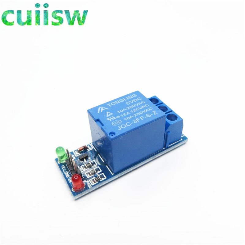10-шт./лот низкоуровневый триггер, 1-канальный изолированный релейный модуль 5 В, муфта для arduino PIC AVR DSP ARM