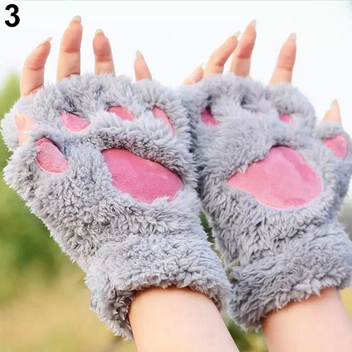New Fashion Women's Bear Paw Fluffy Plush Glove Winter Half Covered Soft Toweling Mittens 5 Colors 6UBA