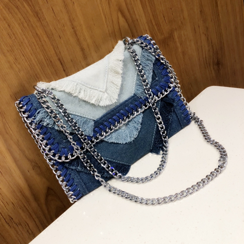 2018 designer women Korean simple style chain bag denim solid color messenger bag fashion vintage women shoulder bag handbag 960 denim vintage quilted across bag women s blue jean plaid stylish brand fashion flap chain crossbody shoulder bag purse handbag