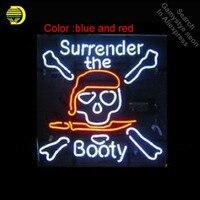 Неоновая вывеска surrender попа череп пирата черепной вывески остекленная Пивной бар PUB дисплей Пивной бар Pub свет знаки 18*18