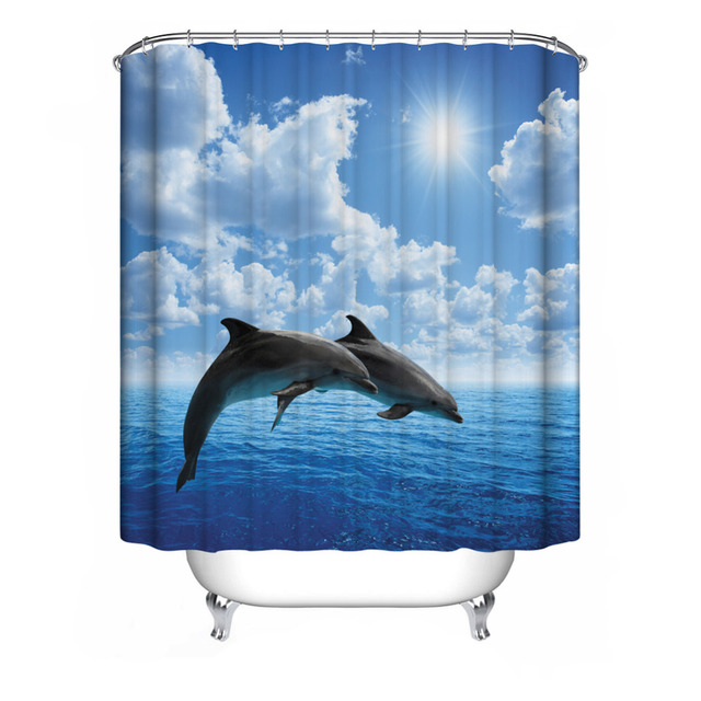 Waterproof Mildewproof Blue Sea Dolphin Shower Curtain Bathroom Decor Bath Digital Painting With Hooks Polyester
