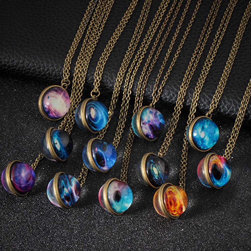 Jewelry & Accessories Necklaces & Pendants Duplex Planet Collares Crystal Stars Ball Glass Galaxy Pattern Leather Chain Pendants Maxi Necklace For Womem Girlfriend Gift By Scientific Process