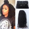 120G Afroamericano Afro Rizado Rizado Clip en la extensión Del Pelo Humano natural Peruano de la virgen de remy clip en la extensión del pelo