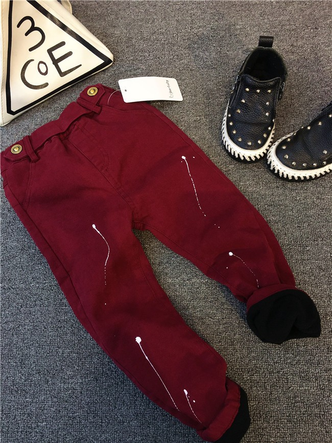 children baby boys autumn winter thick warm jeans pants (6)