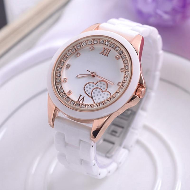 Prix pour Montre en céramique Femmes Blanc Bracelet Or Top Marque De Luxe Robe Montre-Bracelet En Cristal De Mode Étanche Bracelet Montres Dames