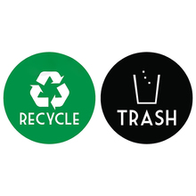Stickers for recycling bins along with annual waste and recycling calendars