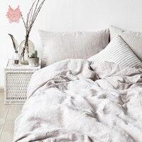 Summer spring purple beige khaki white 100% linen bedding set duvet cover set fitted sheet type jogo de cama SP5243 FREE SHIP