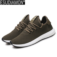 ESUDIAMON New Men Shoes Breathable Army Green Lace Up Fashion Mesh Spring Autumn Walking Flats Solid