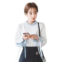 Fashion Female Elegant Bow Tie White Blouses Chiffon Peter Pan Collar Casual Shirt Ladies Tops School