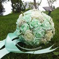 2017 Cheap Stock Mint Green Wedding Bouquets Bridesmaid Rose Pearls Artificial Flowers Bridal Bouquets Handmade Wedding Bouquets