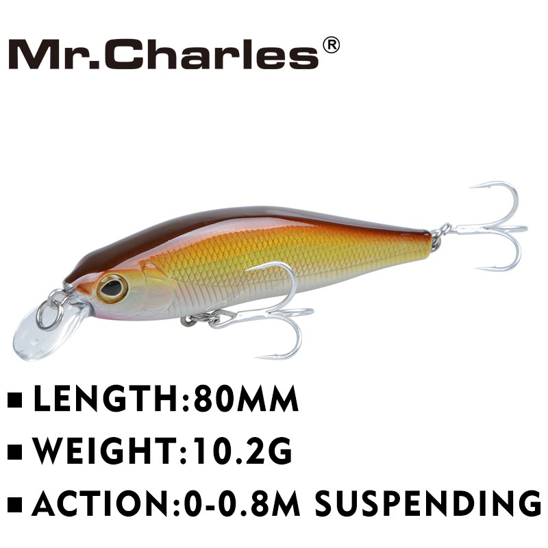 Mr.Charles CMC012 Fishing Lures, 80mm / 10.2g 0-0.8m Suspending High Quality Minnow Crankbait Fishing Lure Hard Bait
