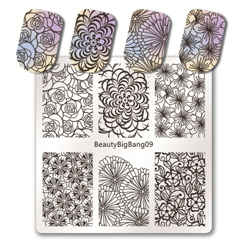 BeautyBigBang 5 PCS Nail Stamping Plates Set New 2018 Summer Lace Flower Nail Design Nail Art Stamp For Nails Template 24 pcs chic flower bow bead rhinestone embellished impressional nail art false nails