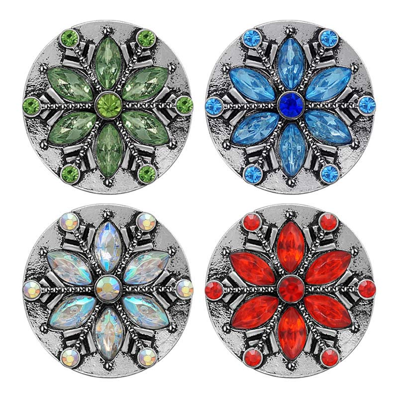 New Beauty Snowflake Style Rhinestone 18mm Snap Buttons Fit 18mm Snap Necklace Jewelry Wholesale KZ3403 Women Christmas Gift