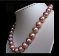 FREE SHIPPING HOT + 10 11MM natural sea pink purple pearl necklace 18 inch C a(5.18)