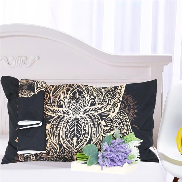 Duvet Cover Lotus Sun Black Print Boho Bedding Set