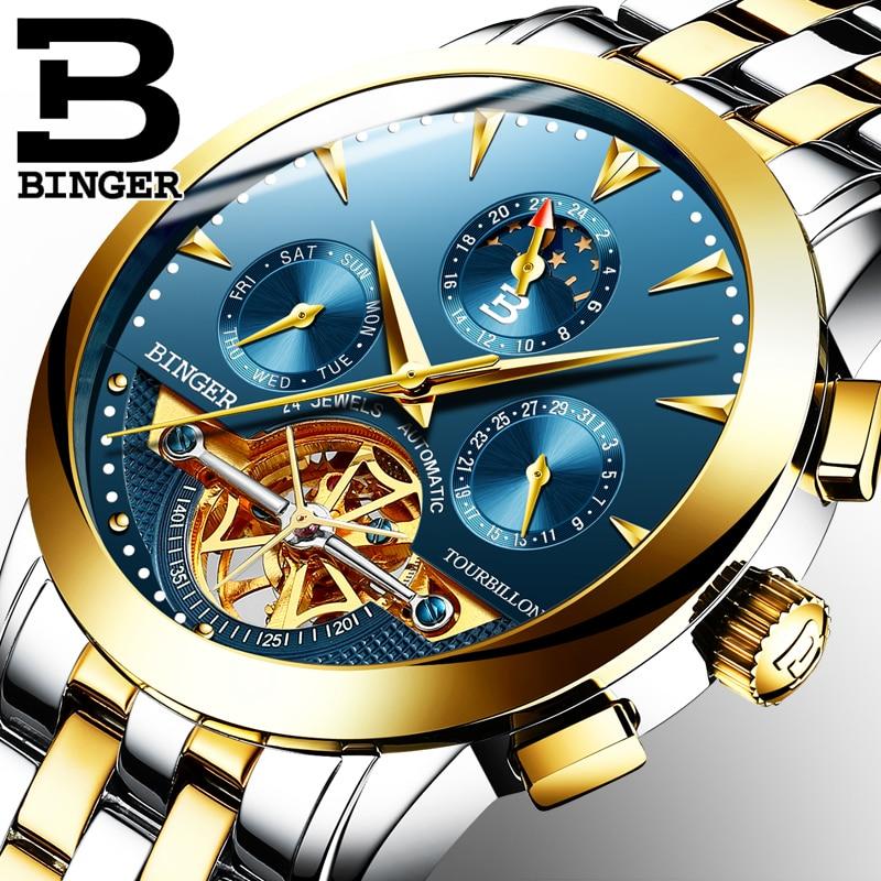 T ourbillonผู้ชายนาฬิกาแบรนด์หรูอัตโนมัติวิศวกรรมนาฬิกาสแตนเลสกันน้ำBINGER relógio masculino B 1188G-ใน นาฬิกาข้อมือกลไก จาก นาฬิกาข้อมือ บน   1