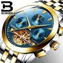 Tourbillon Los Hombres de Lujo Superior Marca de Relojes de Acero Inoxidable Reloj Mecánico Automático Impermeable relogio masculino BINGER B-1188G