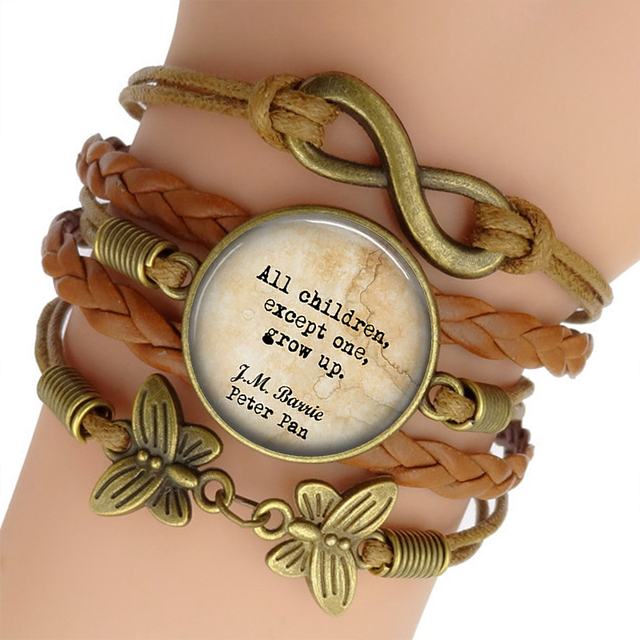 Peter Pan Quote Brown Color Punk Bracelet Bangle Inspirational Quote