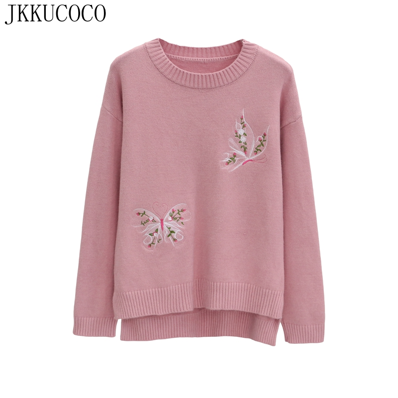 JKKUCOCO Embroidery Butterfly Fashion Sweaters Women sweater long sleeve O neck Pullover Knitted warm Winter sweaters