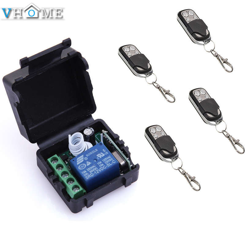 Vhome 433Mhz DC 12 v 1CH mini wireless remote control switch receiver for garage door / window /lamp and 4pcs Remote Controls wireless pager system 433 92mhz wireless restaurant table buzzer with monitor and watch receiver 3 display 42 call button