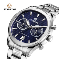 STARKING New Arrival Stainless Steel Men Chronograph Watch 30m Water Resistant Fashion Elegant Blue Dial Watch Quartz Male Colck