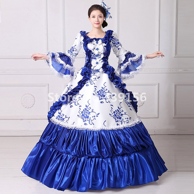 66d80ecd7d4b Marie Antoinette Historical Blue Dress 18th Century Gown Rococo Revival  Costume