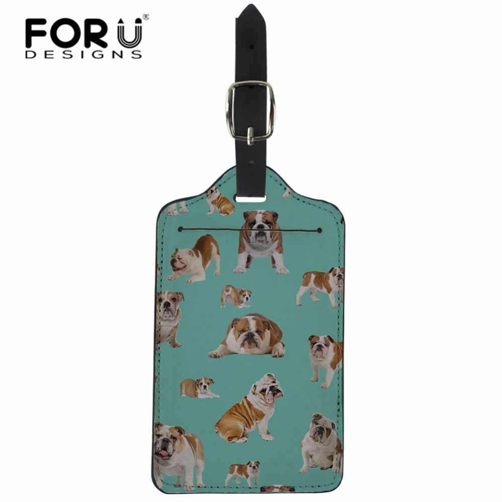 FORUDESIGNS Dog Cat Printed Suitcase Luggage Tags ID Address Holder Silicone Identifier Label Luggage Tags Travel Access Gift ...