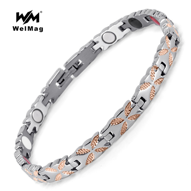 Welmag Health Magnetic Healing Bracelets For Women Bangles Bio Energy Fashion Trendy Stainless Steel Wristband