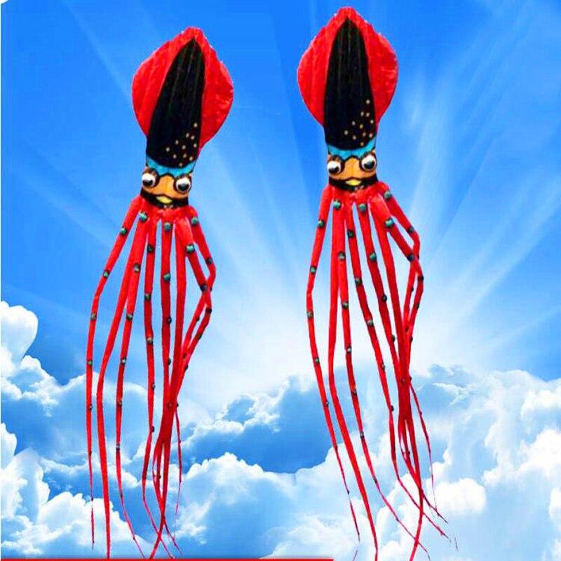 Livraison gratuite 27 m grand thon calamar cerf-volant nylon ripstop jouets de plein air gros poulpe cerfs-volants volant chaussette doux cerf-volant marche dans le ciel adulte