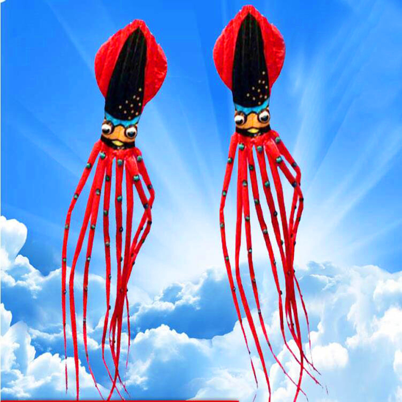 Livraison gratuite 27m grand thon calmar cerf-volant nylon ripstop jouets de plein air grand poulpe cerfs-volants volant chaussette doux cerf-volant marche dans le ciel adulte