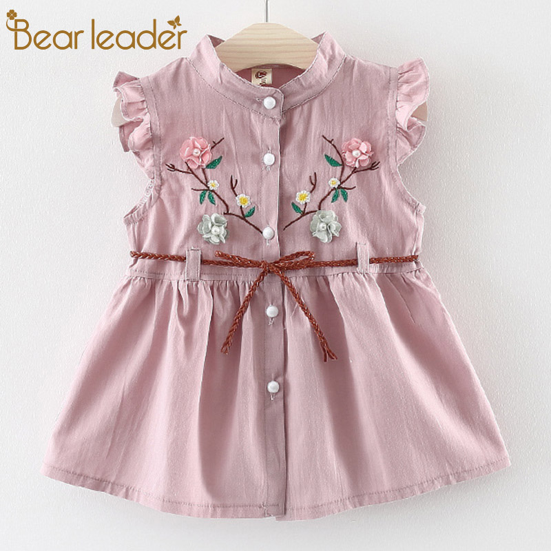 5c3fe7df365 Detail Feedback Questions about Bear Leader Baby Dresses 2018 New Summer  Baby Girls Clothes Flowers Embroidery Princess Newborn Dresses With elt For  6M 24M ...